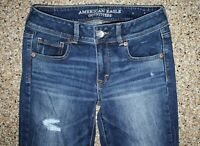 AMERICAN EAGLE Distressed AEO Womens Blue Jeans Size 4  29W, 31L KICK BOOT HOT!!