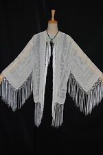 Art to White Burnout Velvet Eastern Fringe Hippie Boho Gypsy Kimono Jacket Coat