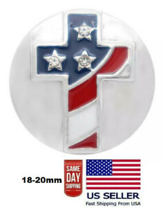Snap Jewelry Rhinestone American Flag Cross 18-20mm Fits Ginger Charms Accessory