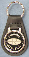 Vintage Black Buick RIVIERA Black Leather Silver Keyring 1983 1984 1985 1986