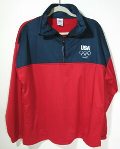 Men's XL USA Olympic Committee London Games half zip training jacket fleece red