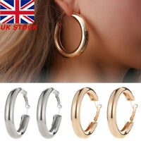 Women's Fashion Silver & Gold Plated Round Large Hoop Drop Earrings Jewellery UK