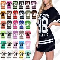 New Ladies New York 98 Brooklyn Stripe Print Baseball Oversize Baggy T Shirt Top