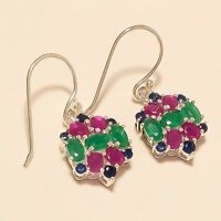 Natural Emerald Ruby Sapphire Earrings 925 Sterling Silver Handmade Jewelry Gift