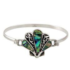Sea Shell Bracelet Hinge Bangle SILVER ABALONE SHELL Beach Sea Life Surf Jewelry