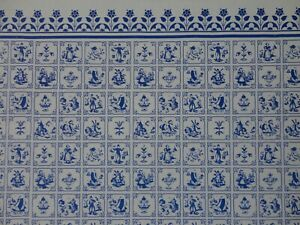 DOLLS HOUSE MINIATURE 1/12 SCALE WALLPAPER - WHITE & BLUE - 0116