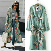 Women Long Maxi Cardigan Kimono Casual Loose Shawl Open Front Trench Coat Jacket