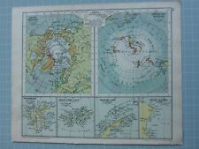 1933 Map Arctic & Antarctic Regions Graham Land Franz Josef Spitsbergen