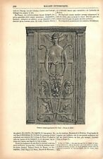 Sculpture en bois d'acajou panneau sculpté ébénisterie Renaissance GRAVURE 1877