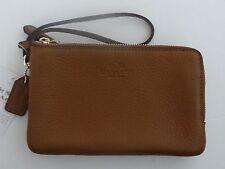 Coach Women's Double Corner zip in pebble Brown Leather Wristlet F66505 SALE