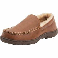 Weatherproof Mens Memory Foam Leather Slipper Indoor/Outdoor Moccasin Tan L 10.5
