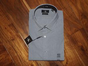 NWT Mens CALVIN KLEIN Purple Indigo Checked Slim Fit L/S Dress Shirt L 16 32-33