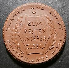 German brown porcelain notgeld / sport medallion - Undated no denomination 40mm