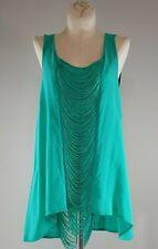 NAKED ZEBRA Top Tunic Blouse Fringe Embellished Exposed Back Sleeveless S FLAW