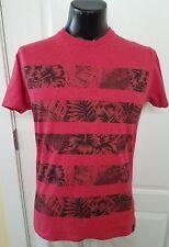 Astronomy Flower and Leaf Striped Red T Shirt Medium Retro Rare