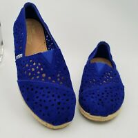 TOMS Womens Blue Suede Slip-On Perforated Espadrille Flats Shoes Size 10W