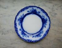 Antique Flow Blue Dinner Plate New Wharf Pottery Co. Plymouth Pattern 8.75""