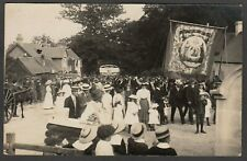 Postcard Lyndhurst New Forest Hampshire village Sunday Parade banners 1911 RP #2