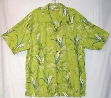 Tommy Bahama Men's Lime Green Palm/Lily Silk Hawaiian Shirt Coconut Buttons XL