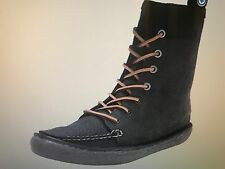 NEW SeaVees Women's 02/60 7 Eye Trail Boot BLACK Pull Up LEATHER Boots Size 8.5
