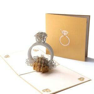 3D diamond ring greeting cards invitation valentine's day pop-up card for lovers