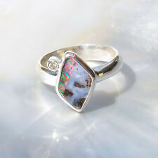 Boulder Opal Ring, 925er Silber, Edelsteinring (21854), mit Brillant