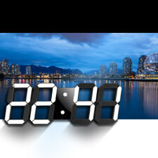 Moderne Wanduhr 3D LED Digital Wanduhr Wall Clock Uhr schwarz und weiß