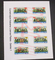 CURRENT STYLE ALABAMA miniature LICENSE PLATES for 1/25 scale MODEL CARS