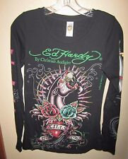 Ed Hardy Panther Rose Embellished Rhinestone Love Black Top Small