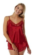 Red Silky Satin Cami Camisole and Shorts Lace French Knickers Adjustable Strap