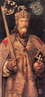 Oil painting portrait Emperor Charlemagne holding sword Excalibur hand painted