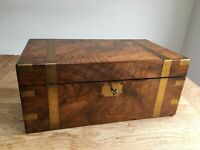 19th century mahogany and brass banded writing slope with key and secret drawers