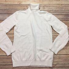 Lauren Ralph Lauren Women's Size S White Long Sleeved Cotton Turtleneck Sweater