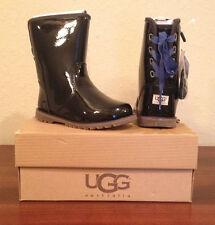 NIB UGG Australia T Corene BLACK PATENT Boots Toddler Girls 9 BLACK/BLUE RIBBON