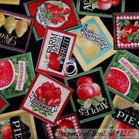 BonEful Fabric FQ Cotton Quilt Black Red Fruit Farm Lemon Pear Cherry Watermelon