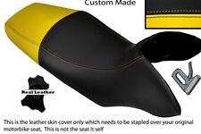 BLACK & YELLOW CUSTOM FITS HONDA TRANSALP XL 700 V 08-12 DUAL LEATHER SEAT COVER
