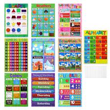 10PCS Kids Preschoolers Educational Preschool Posters Charts for Kindergarten US