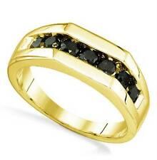Men's Black Diamond Ring Band 1.00ct - 10K Yellow Gold Channel Set Diamonds