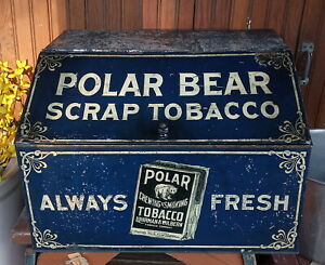 Antique Polar Bear Scrap Tobacco Countertop Store Display Bin, Tin Lithographed