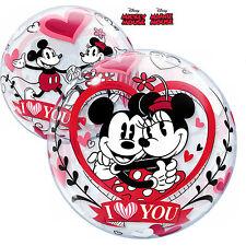 "Qualatex Bulles Ballon 22"" Mickey et Minnie I Love You St. Valentin Décoration"