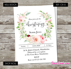 Christening Baptism Invitation Holy Communion Confirmation Party Invites Floral
