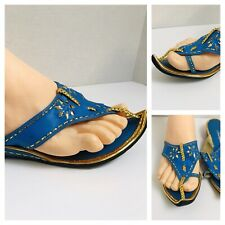 Vintage 60's Champion Pointed Toe Sandals Blue/Green with Gold Detail Size 6
