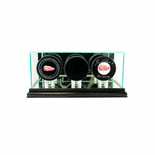 GLASS TRIPLE HOCKEY PUCK DISPLAY CASE UV PROTECTION BLACK WOOD AND MIRROR BACK