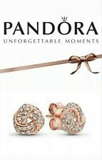 Genuine Pandora Shimmering Rose Gold Knot Stud Earrings + Gift Pouch S925 ALE UK