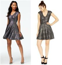 BAR III  SEXY  CHIC  V - NECK  FOIL PARTY FIT & FLARE   DRESS  Sz M   NWT   $ 90
