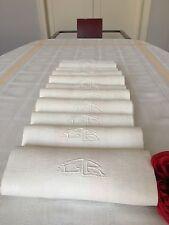 Nappe et 11 serviettes Damas de lin bicolore 2 monogrammes GR Réf 1488/93-1