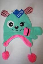 NEW Girls Trapper Critter Hat Mittens Set Knit Cap Green Pink Puppy Ear Flaps