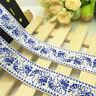 NEW DIY 5 Yards 1'' 25mm White flower Printed Grosgrain Ribbon Hair Bow Sewing