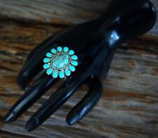 Boho Oval Turquoise Centered Flower Stretch Ring  adjustable fit any size