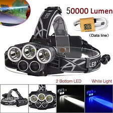 50000LM 5-Head CREE XM-L L2 LED 18650 USB Rechargeable Headlamp Headlight+Cable